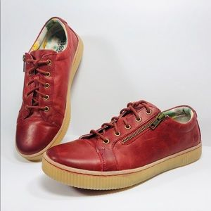 Born Red Leather Tamara Lace Up Casual Sneaker 9 M